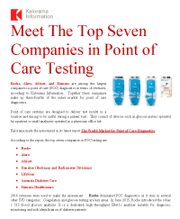 White Paper: Meet the Top Seven Companies in POC Diagnostics